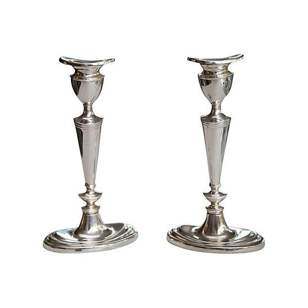 Image of Deco-Style Silver-Plate Candlesticks - A Pair