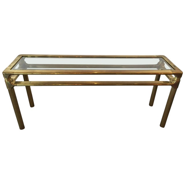 Mastercraft Brass and Glass Console - Image 1 of 6