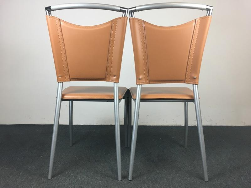Contemporary Brushed Metal U0026 Tan Leather Side Chairs   A Pair   Image 4 ...