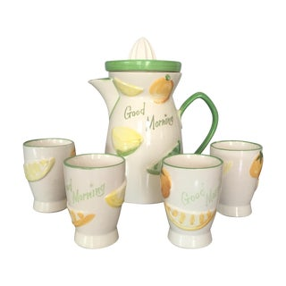 "1940s ""Good Morning"" Juice Set - Set of 5"