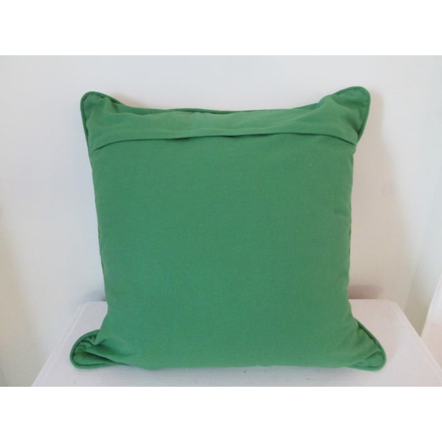Green Crewel Embroidered Pillow - Image 5 of 5