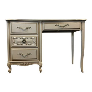 Vintage Shabby Chic White & Gold Hand Painted Wood Desk