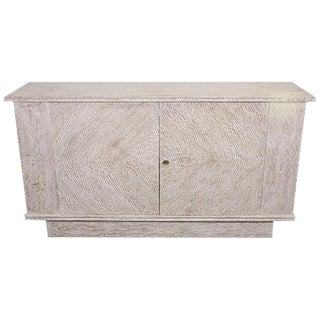 GLAMOROUS FRENCH CERUSED OAK CABINET IN THE MANNER OF ANDRE ARBUS