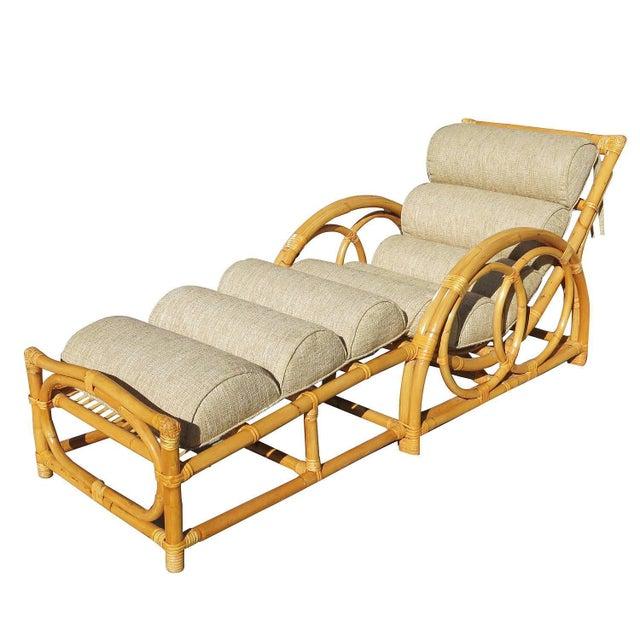 Half moon rattan chaise longue chair chairish for Chaise longue rattan