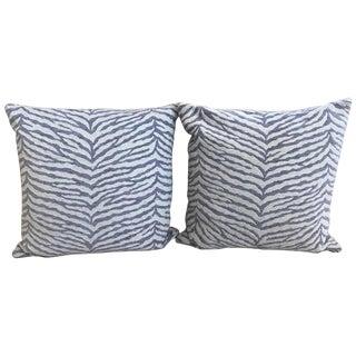 Lavender & White Zebra Stripped Schumacher Fabric Pillows - A Pair