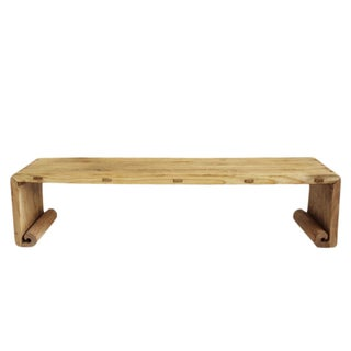 Natural Elm Wood Waterfall Bench or Coffee Table