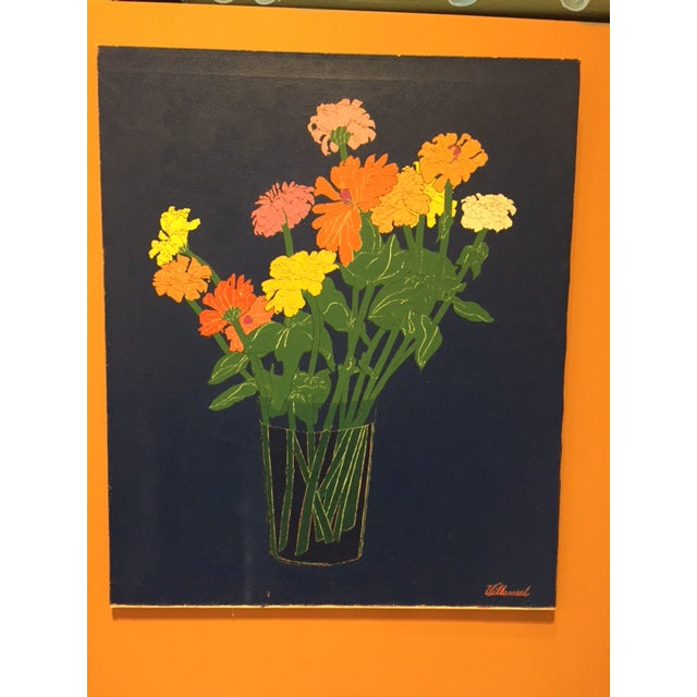 1970s Colorful Zinnias Painting - Image 2 of 6