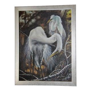 Egret Bird Mid-Century Oil Painting