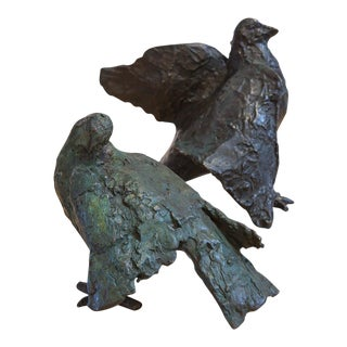 Pair of Bronze Cast Pigeons by Ilana Goor