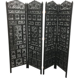 Balinese 4-Panel Carved Wood Screen