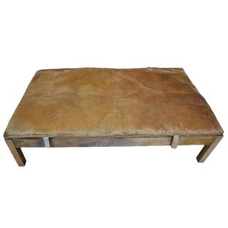 Vintage Leather Gymnasium Mat Topped Ottoman