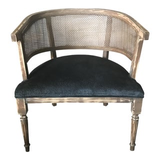 Vintage Cane Black Velvet Barrel Chair
