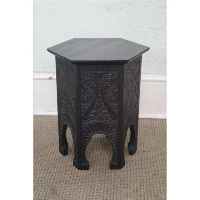 Antique Incised Carved Oak Taboret Side Table - Image 2 of 10