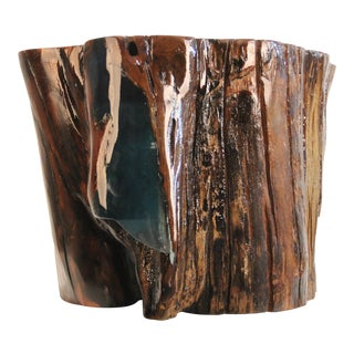 Illuminated Resin Filled Tree Stump Side Table