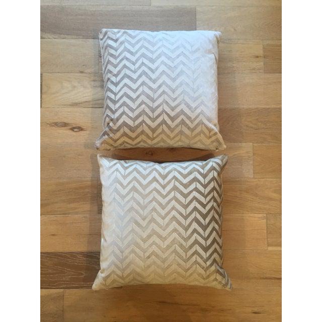 Room & Board White Herringbone Pillows - A Pair - Image 2 of 4