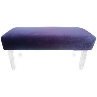 Purple Velvet Bench with Lucite Legs