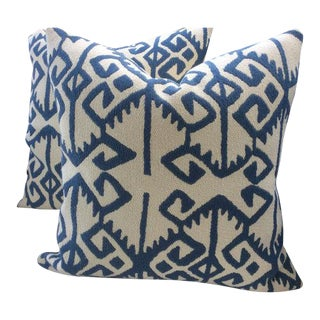 "Manuel Canovas Pillows in ""Kerala"" Blue & White Woven Aztec Pattern - APair"