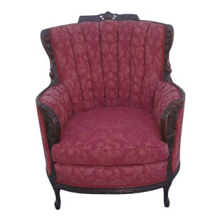 Burgundy Hand Carved Wingback Chair