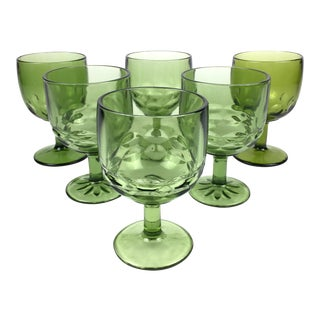 Vintage Green Goblets - Set of 6