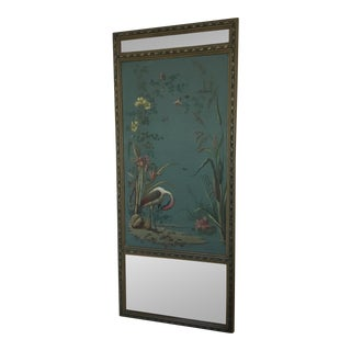 Antique Hand Painted Stork on Canvas Mirror