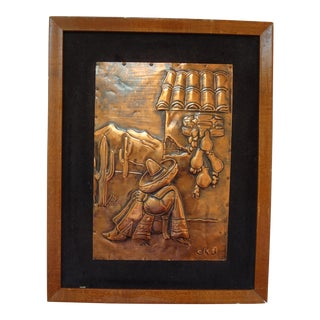 Signed Copper Relief Southwest Repousse Mexican Art