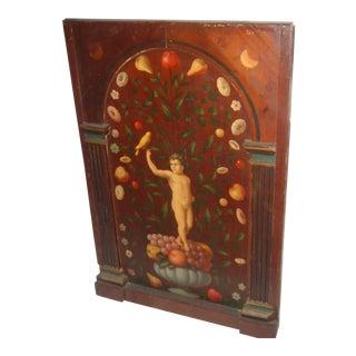 Antique Painted French Wood Panel of Cherub & Fruit & Bird