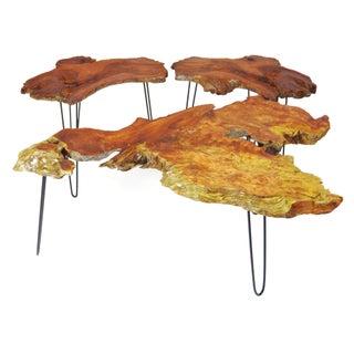 Nakashima Style Redwood Coffee Table Set