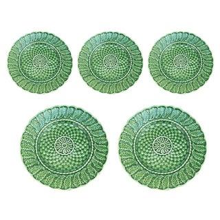 Green Antique Majolica Leaf Plates - Set of 5