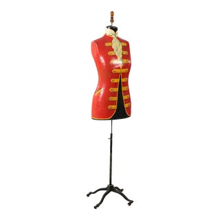 19th Century Antique Mannequin Painted Torso With Iron Stand