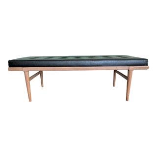 Robsjohn Gibbings Mid Century Modern Black Naugahyde Upholstered Bench