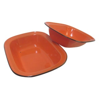 Orange Enamelware Bowls - Pair