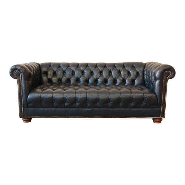 Vintage Tufted Blue Leather Chesterfield Sofa Chairish