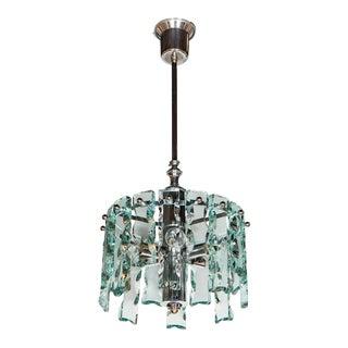 Mid-Century Modernist Chiseled Glass Chandelier, Style of Fontana Arte