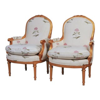 Louis XVI Style Gilt Bergere Chairs - A Pair