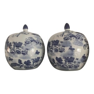 Blue & White Chinoiserie Ginger Jars - A Pair