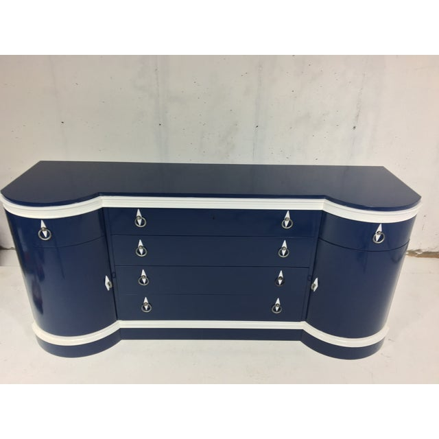 Mid-Century Navy & White Lacquered Credenza - Image 4 of 4