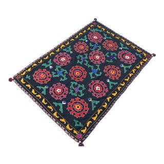 Antique Red & Green Floral Pattern Suzani Textile