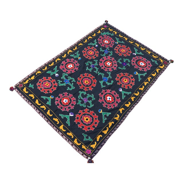 Antique Red & Green Floral Pattern Suzani Textile - Image 1 of 6