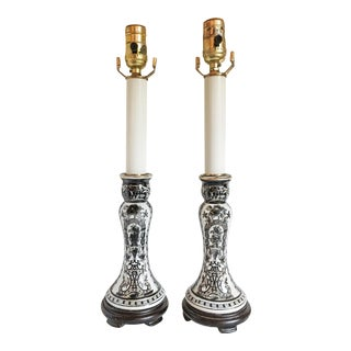 Black & White Chinoiserie Buffet Candlestick Lamps - A Pair