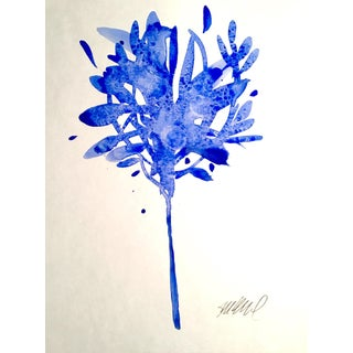 """Botanical Blue 2"" Original Watercolor Painting"