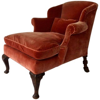 Antique Rolled Arm English Reading Chair, Silk Velvet Upholstery