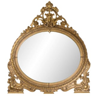 19th Century Oval Gilt Overmantle Mirror