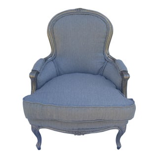 Light Blue Chambray Vintage Bergere Chair