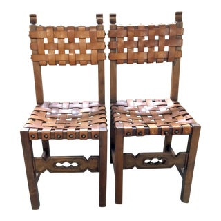 Arts & Crafts Woven Leather Chairs - A Pair