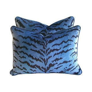 Blue & Black Scalamandre Le Tigre Pillows - A Pair