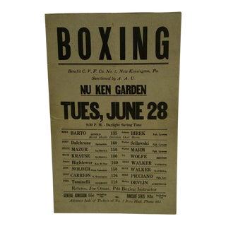 C. 1930 Johnny Birek Nu Ken Garden New Kensington, Pa Boxing Poster