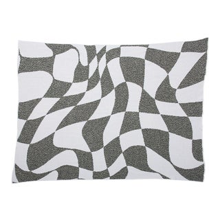Aelfie Wavy Grid Checkerboard Recycled Cotton Throw Blanket