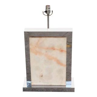 Vintage Curtis Jere Mid-Century Modern Chrome & Marble Table Lamp