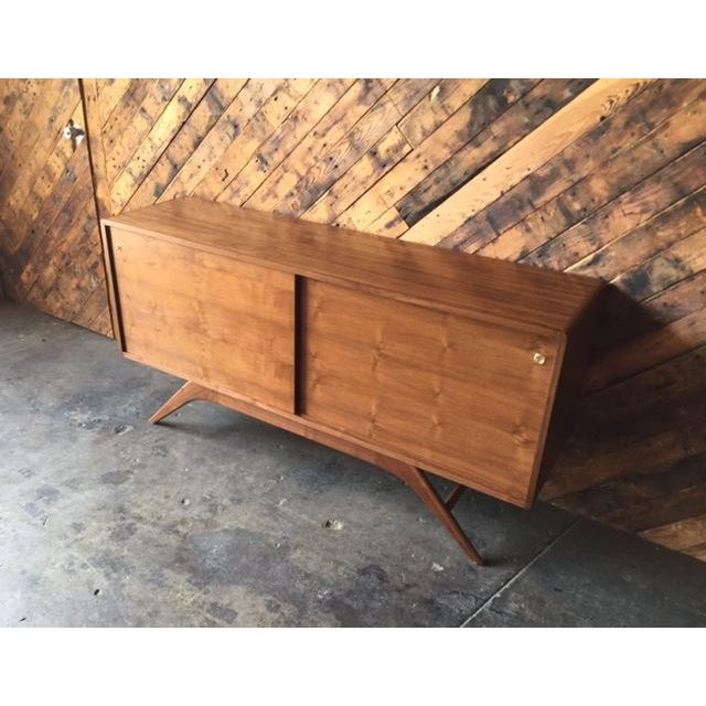 Mid Century Style Custom Walnut Sculpted Base Credenza - Image 9 of 9