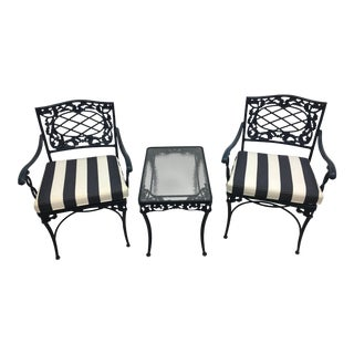 Brown Jordan Cushioned Patio Chairs & Glass Top Side Table- Set of 3